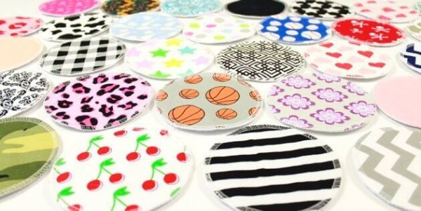 an assortment of colorful breast pads