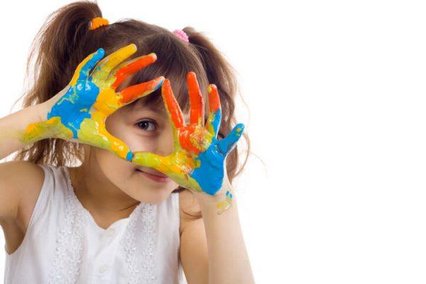 Beautiful girl playing with colors